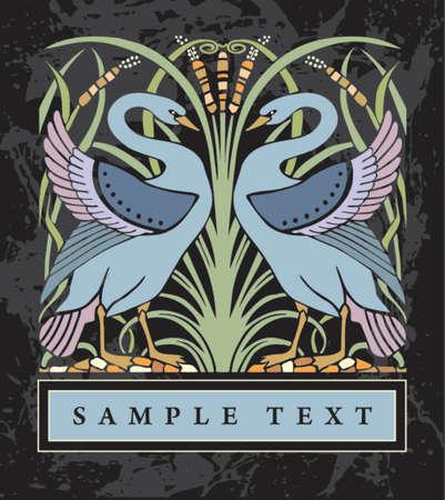 swans: old label Illustration