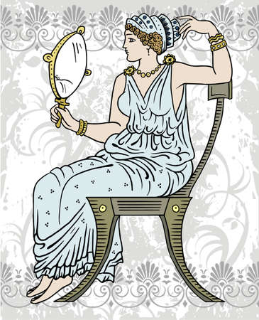ornament  jewellery: greek female Illustration