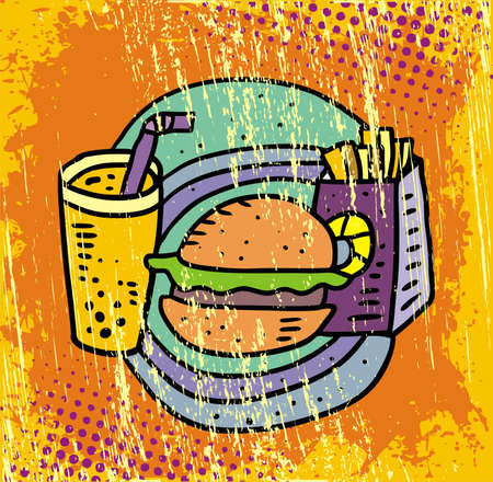 French fries, soda and cheeseburger  Stock Vector - 13557783