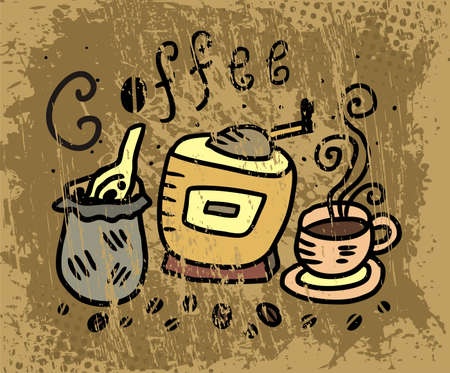 coffee mill: illustration of coffee