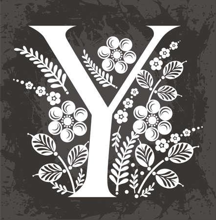 letter Y in the flowers Stok Fotoğraf - 13593025
