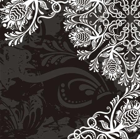 white napkin: floral card