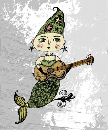 mermaid with a guitar  Vector