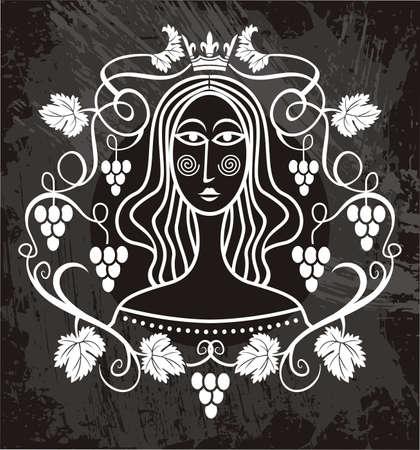 range fruit: girl in a vineyard  Illustration
