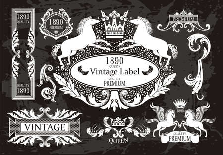 vintage frames set with blazons &  crowns Vector