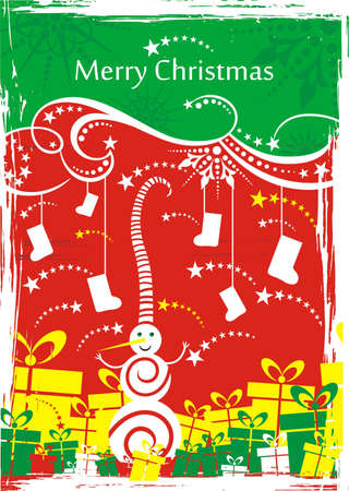 squiggles: Snowman whith present box Christmas greeting card