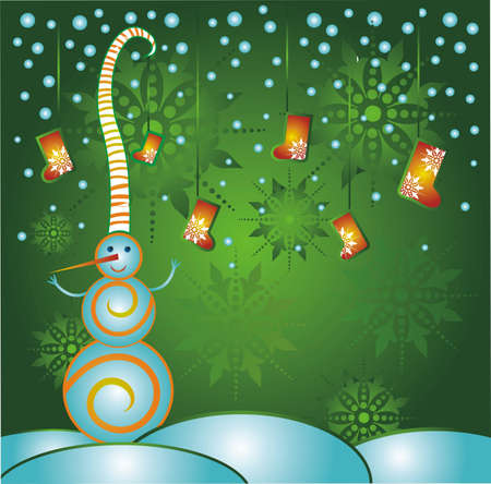 squiggles: Snowman Christmas greeting card