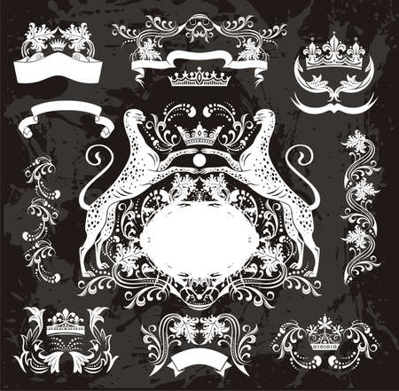 heraldic jaguar set &amp, elegant floral elements Vector