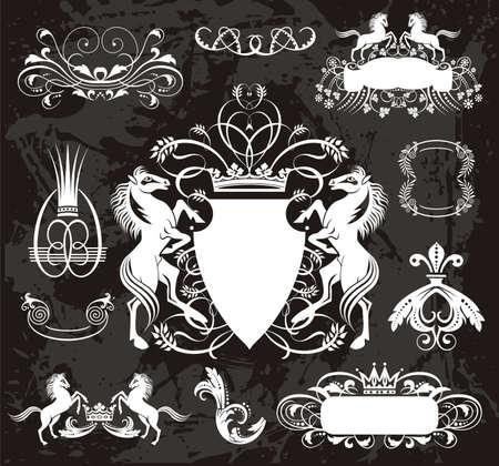 Heraldic set with horses Vector