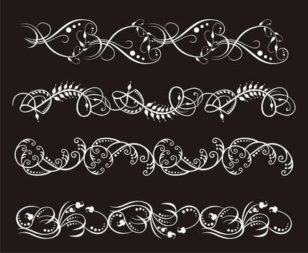 vintage set of elegant flower  borders Stock Vector - 16922806