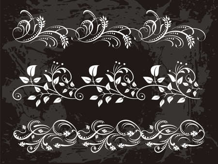 vintage set of elegant flower  borders Vector