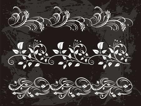 flower borders: vintage set of elegant flower  borders