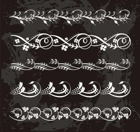 vintage set of elegant flower  borders Stock Vector - 16936048
