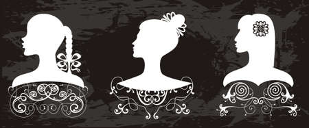 Elegant women s profiles Vector