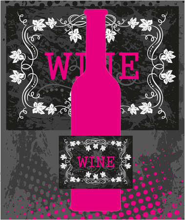 tomando alcohol: Botella rosada de vino con etiqueta negro