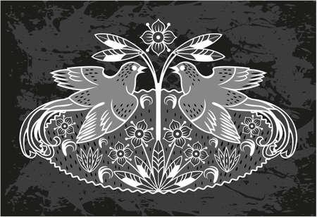 Zwarte kaart met een vogel en bloemen