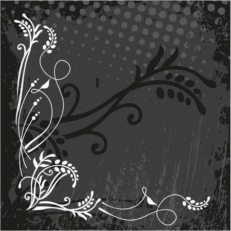 wite: Ornamental wite floral corner on black background.
