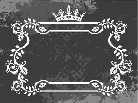 floral elements: Black and white floral frame with crown