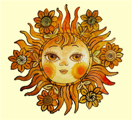sunbeam: Smiling sun with flowers in aquarelle vector Illustration