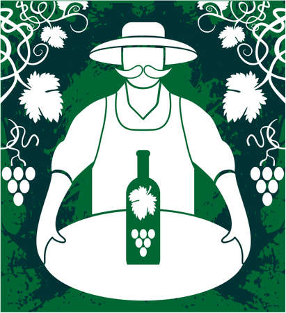 Winemaker with wine bottle grapes bunch isolated on greenbackground Vectores