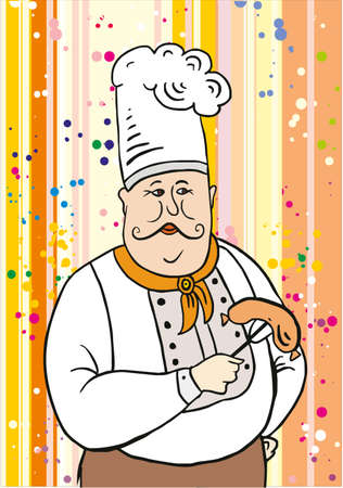 happy chef: The happy chef holding the hot sausage on the fork. Illustration