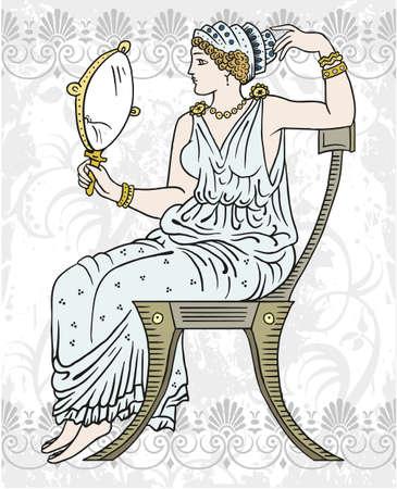 diosa griega: Antigua mujer griega que se sienta en una silla que sostiene un espejo