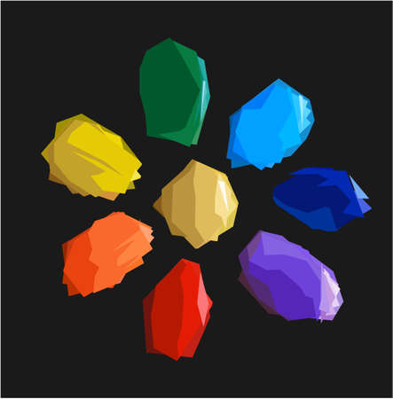 mineral stone: Colorful shiny bright crystals. Red crystal, yellow crystal, green crystal, purple crystal, orange crystal, emerald crystal, ruby crystal, tourmaline crystal, quartz crystal, diamond crystal isolated Illustration