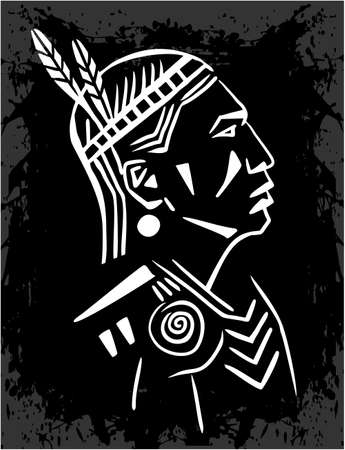 north american: North American Indian chief black and white illustration