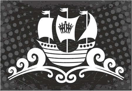 ship sign: Ocean Ship sign. Retro sailing ship, Illustration Illustration