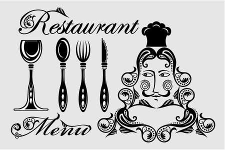 knife fork: Elegant card for restaurant menu, with spoon, knife ,fork and glass illustration