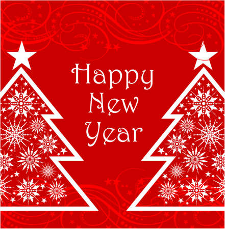 reb: Reb happy new year card with christmas trees