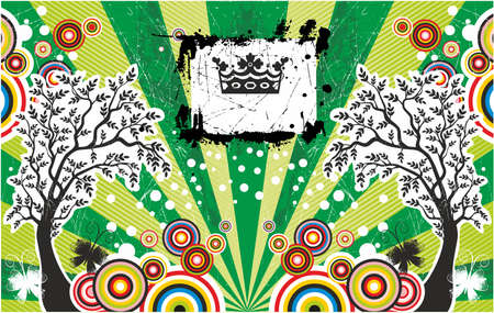 holydays: Abstract summer card with trees and crown Illustration
