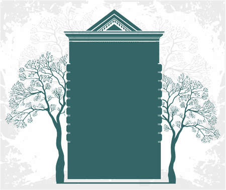 building estate: Residential building with trees green property,real estate template Illustration