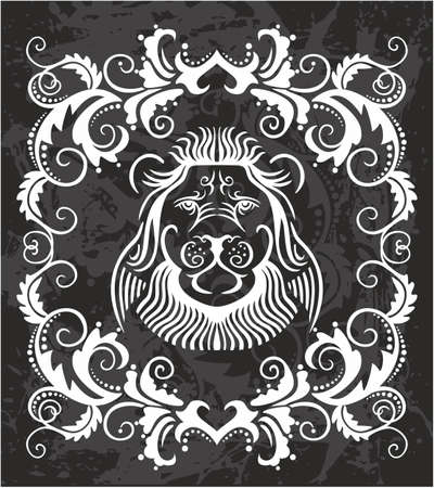 heraldic lion: Heraldic Lion Head in a frolar frame Illustration