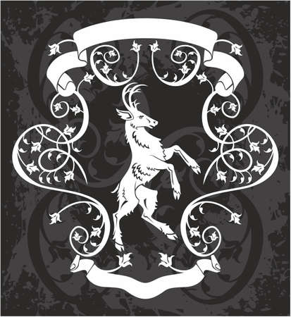 animal silhouettes: Heraldic deer in a frame, black and white