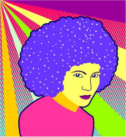 Retro colorful disco girl portrait background with stars.