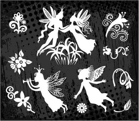 elfs: Princess with prince, flying fairy, elfs flowers Illustration