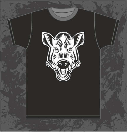 tusks: isolated pattern T-shirt with the image of the silhouette of the wild boar Illustration