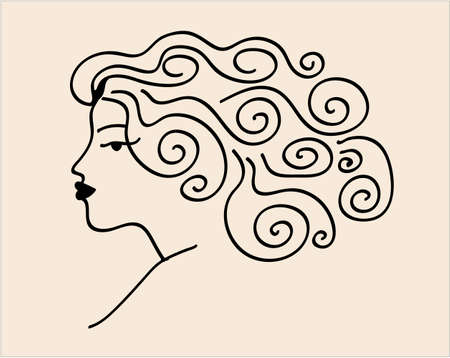 day dreaming: Sketch woman - Day dreaming girl with long hair Illustration