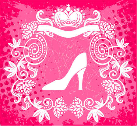 heel: High heel royal floral frame with crown Illustration
