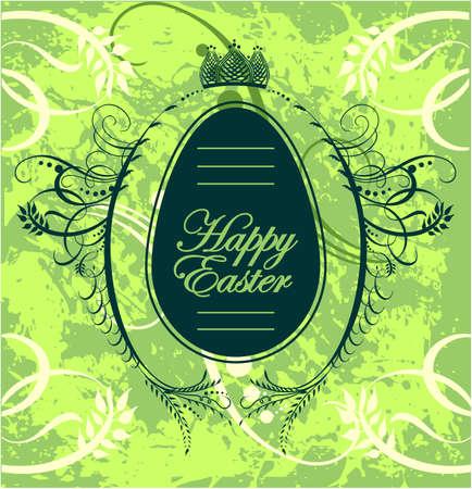 Feliz tarjeta de felicitación de Pascua con el huevo Ilustración de vector
