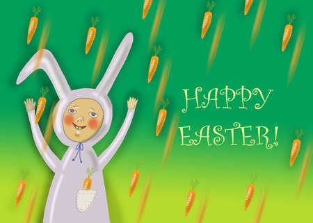 happy: Happy Easter greeting card with rabbit boy