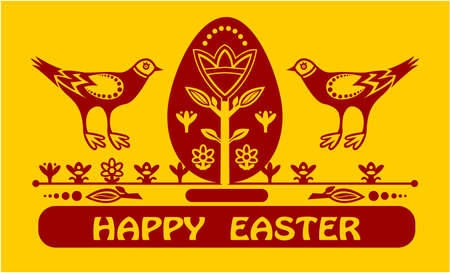 Happyeaster card with eggs and two birds