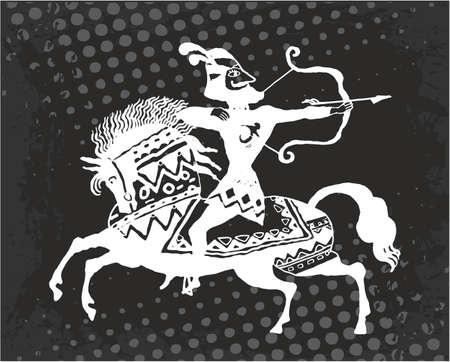 Warrior archer on horseback. Vector illustration. Illustration