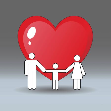 Father, mother and son holding hands. Behind them is a big heart on a gray background.