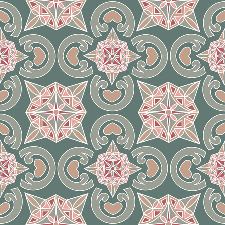 monochromic: Seamless monochromic pattern with ornaments and hearts.