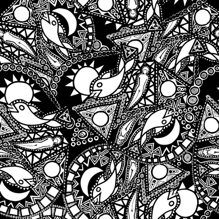 abstract fish: seamless pattern with abstract fish and people forms