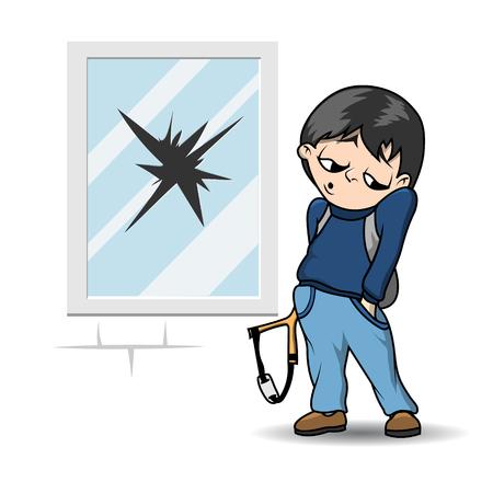 Bully met een katapult bevindt zich in de buurt van het gebroken raam.