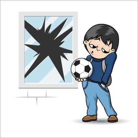 Jongen met voetbal staat in de buurt van de gebroken raam