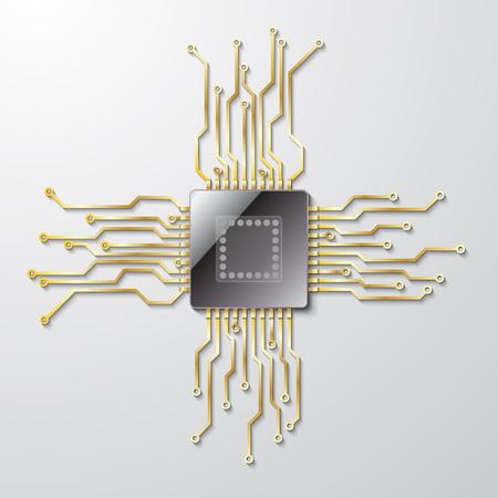 灰色の背景にマイクロ チップ